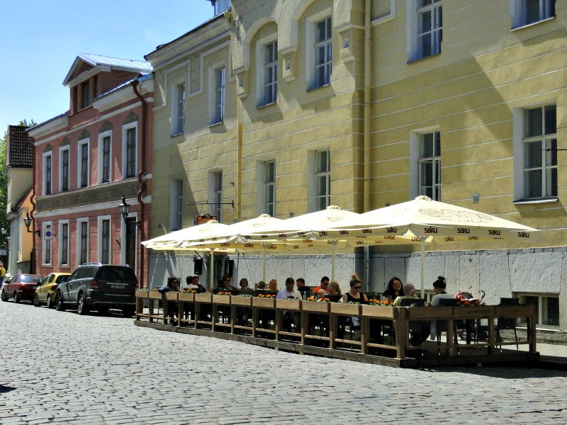 Colorful cafes on the streets of Old Town Tallinn.