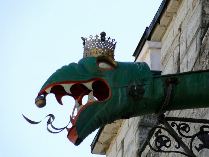 This playful dragon was at a local Old Town Tallinn theater.