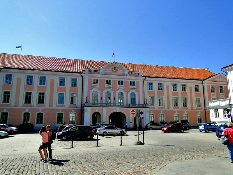Huge Parliament Building in Old Town Tallinn.