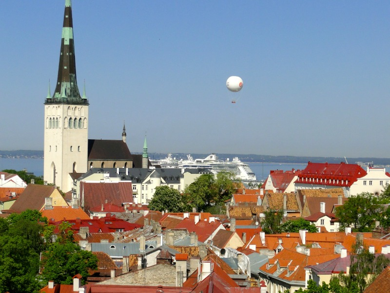 The red tiled roofs and steeples are a beautiful reflection of Tallinn, Estonia.