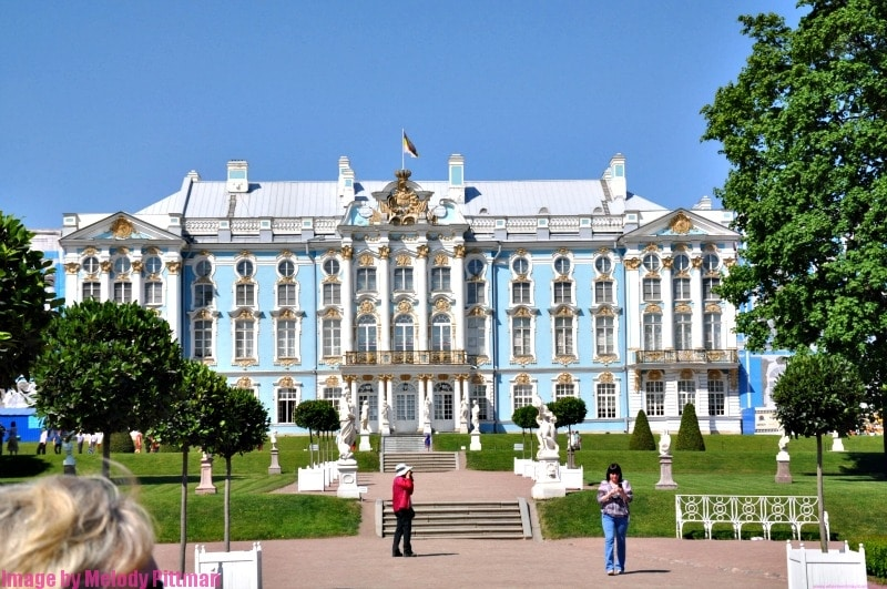 Full view of Catherine's Palace in Pushkin, Russia.