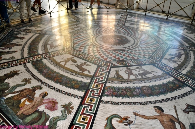 Marble mosaic floor at The Hermitage.