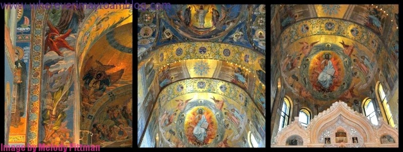 Collage of dome shots at the Church on Spilled Blood.