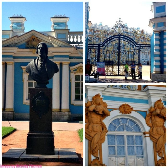 The beautiful facade and gates of Catherine's Palace in Pushkin, Russia.