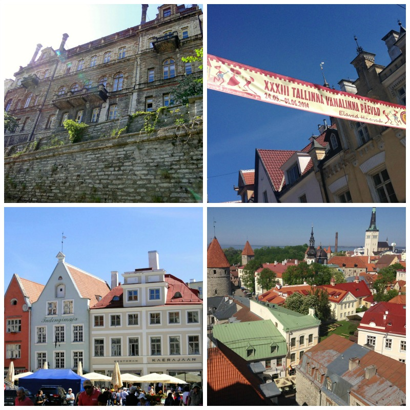 A photo collage of buildings in Old Town Tallinn.
