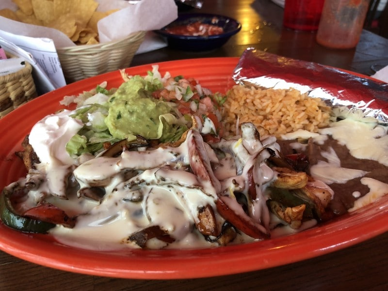 chicos cantina Mexican lunch plate