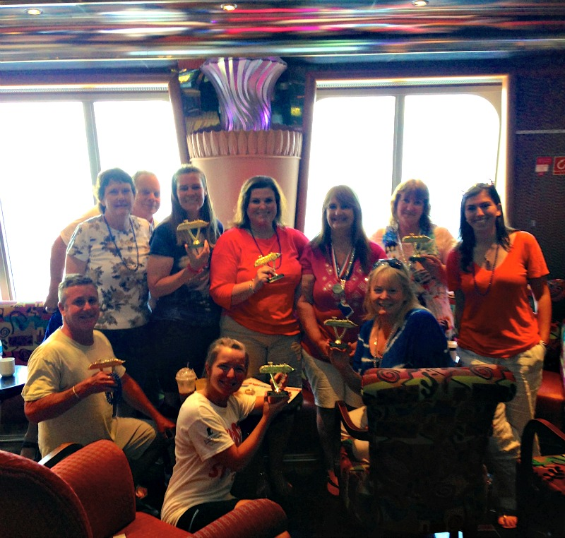 Making new friends through trivia games on the cruise ship.