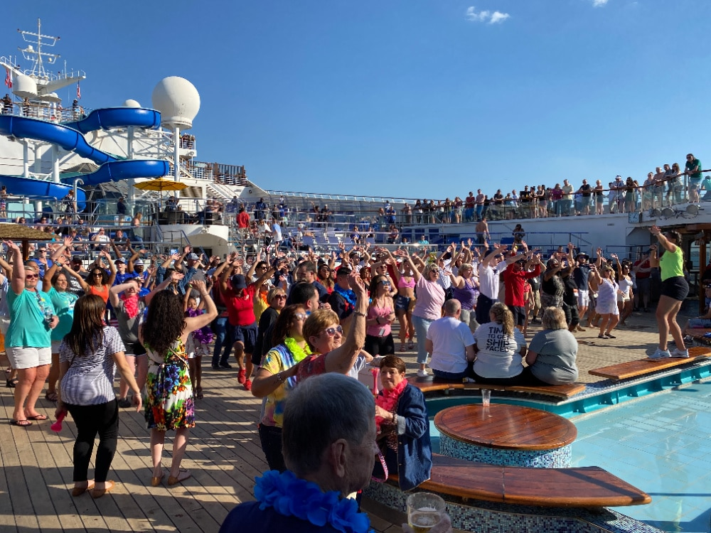 dance party on pool deck cruise ship
