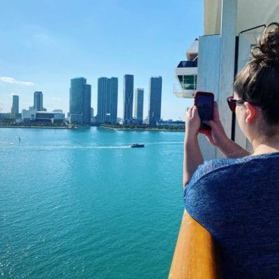 taking photos from cruise ship balcony