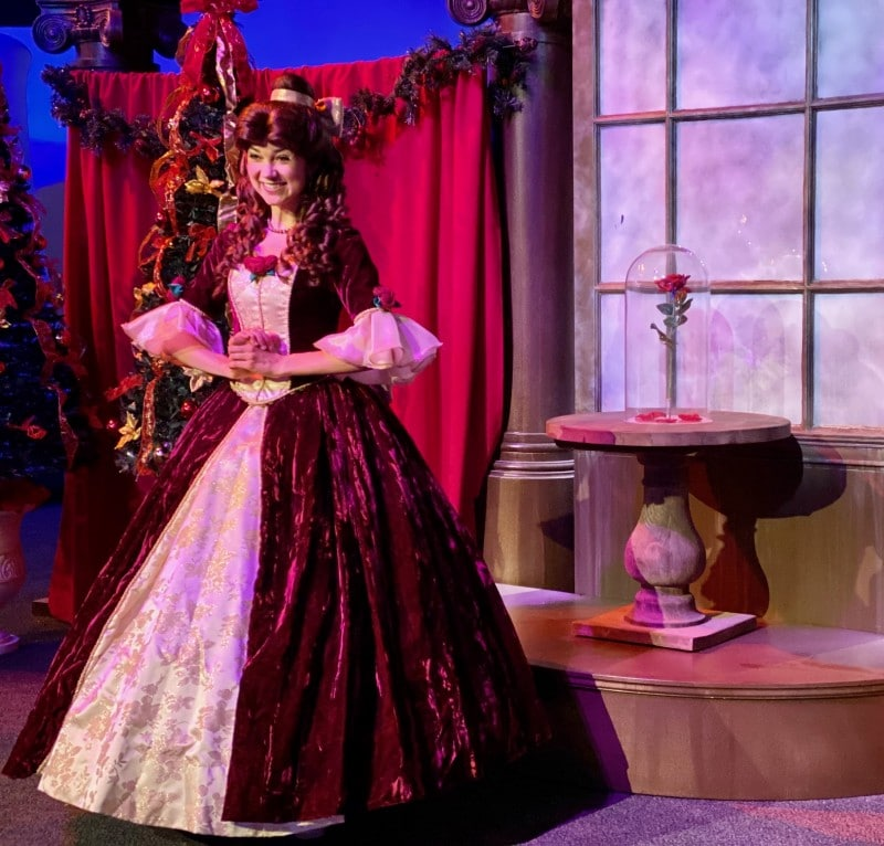 belle in holiday gown Walt Disney World christmas