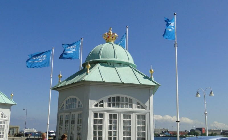 Stately dome and flags in Copenhagen.