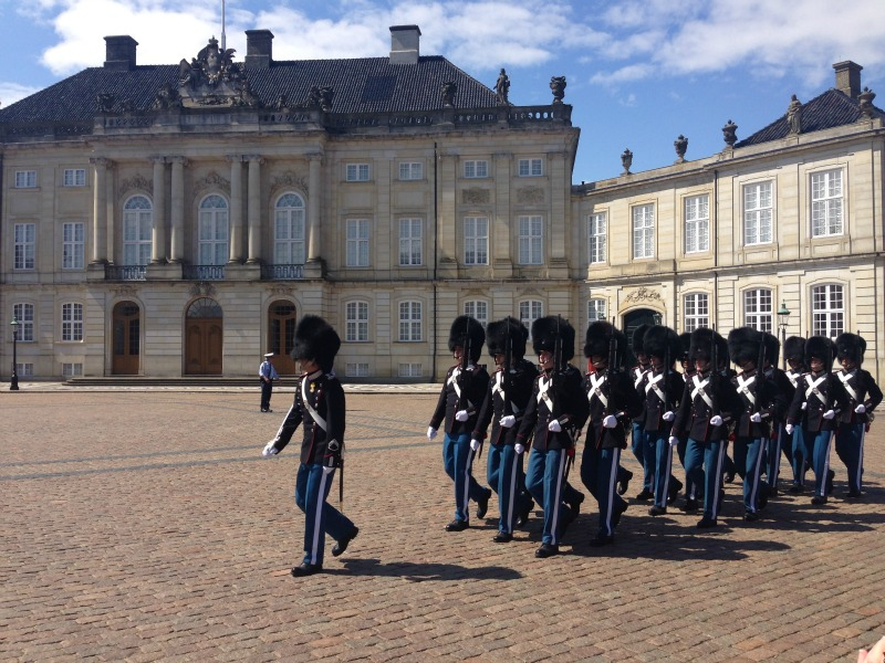 Amalienborg Palace changing of the guards ceremony.