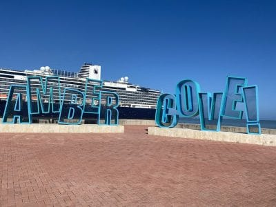 amber cove sign at cruise port