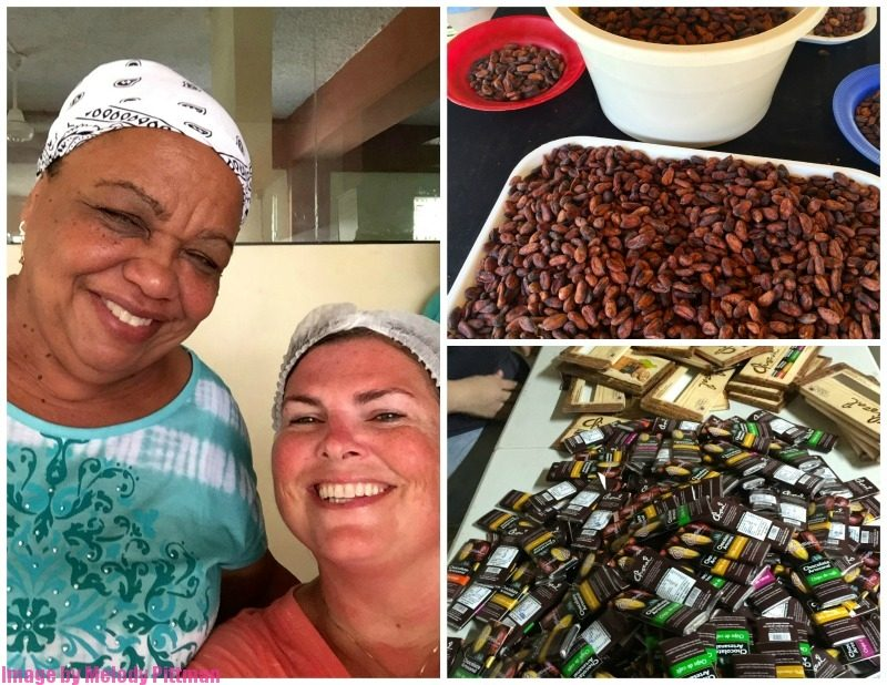 working at the women's chocolate cooperative in the Dominican Republic