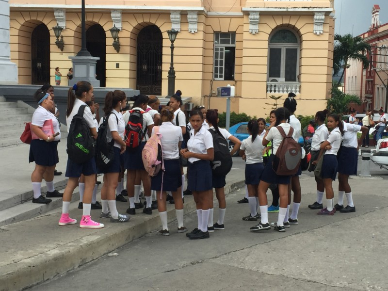 Cuban school children in uniforms.