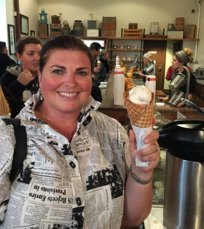 Melody Pittman sampling ice cream from Salt and Straw in Portland.