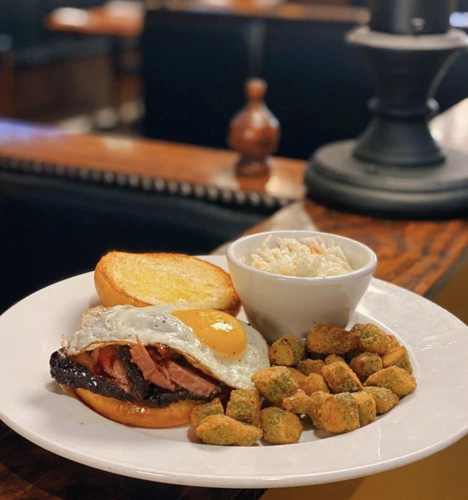 bearfoot tavern brisket sandwich and okra
