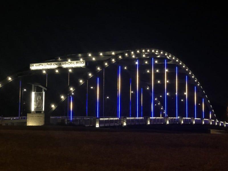 Fort Wayne Indiana bridge lit up at night