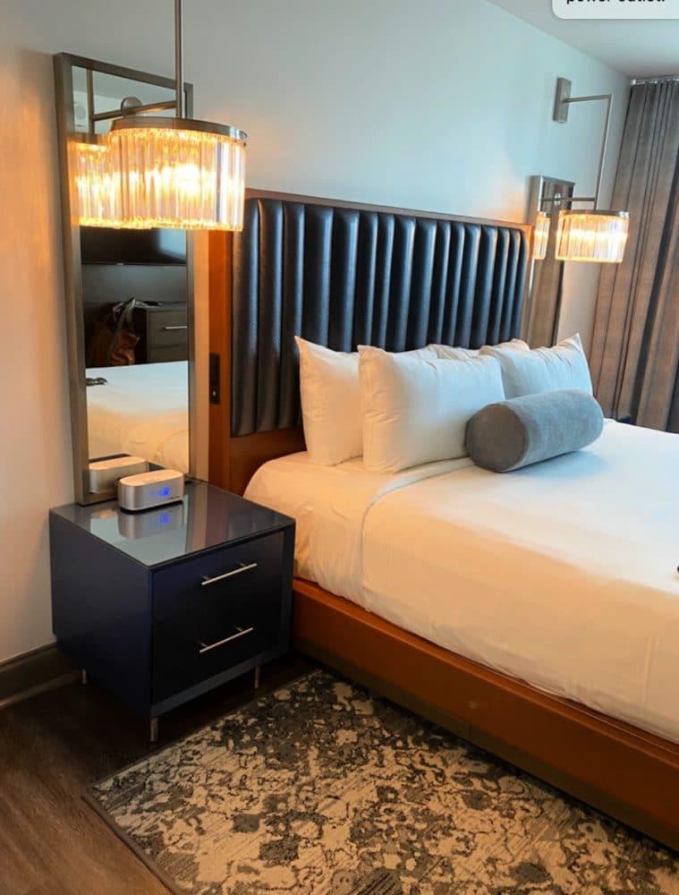bedroom and cool light fixtures legends hotel