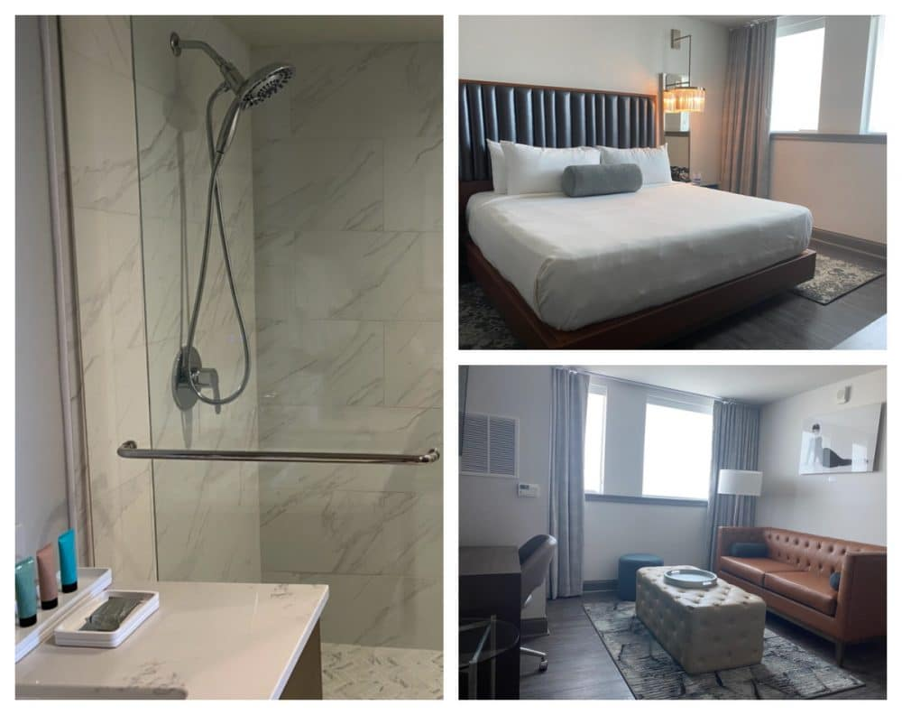 bedroom suite and bath at hotel legends Biloxi
