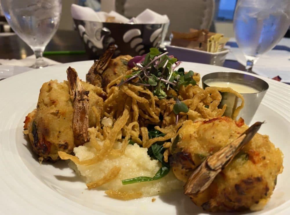 crab stuffed shrimp dinner over polenta