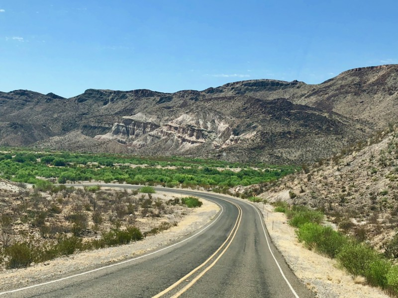 Driving into the Big Bend Ranch State Park.