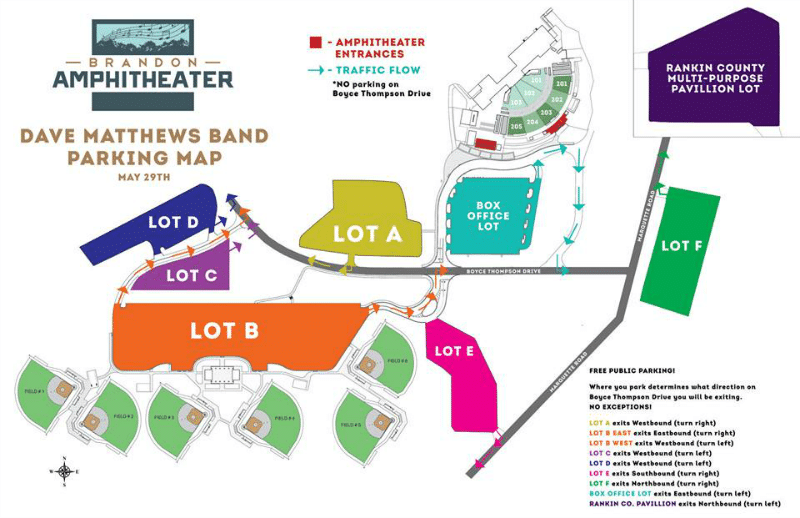 Here's the Brandon Amphitheater Parking Map.