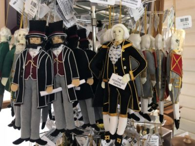 Cute souvenirs of the Founding Fathers in Charlottesville, Virginia.