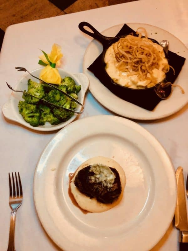 steak and side dishes from Mickey Mantle's
