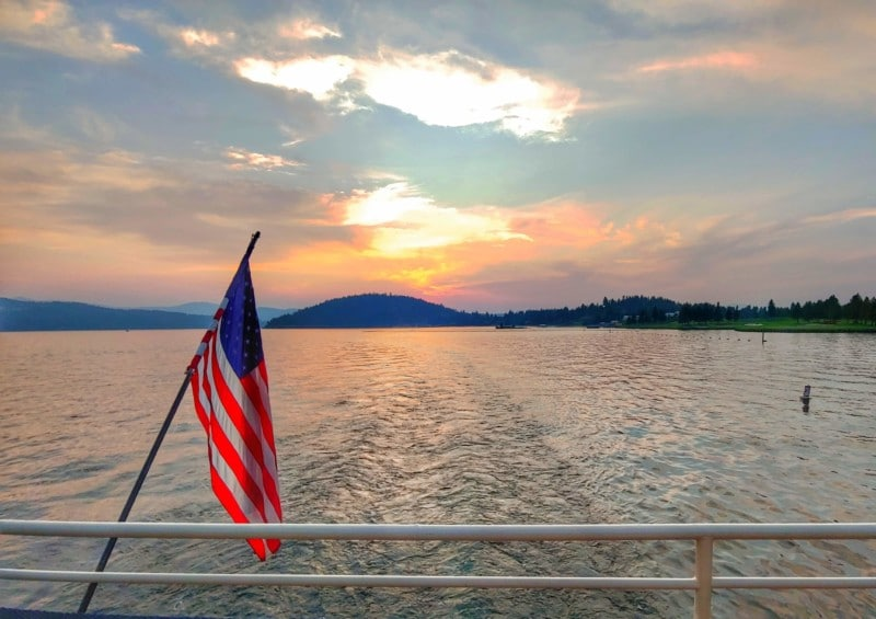 We just couldn't get enough of Lake Coeur D'Alene, so we also took a sunset dinner cruise