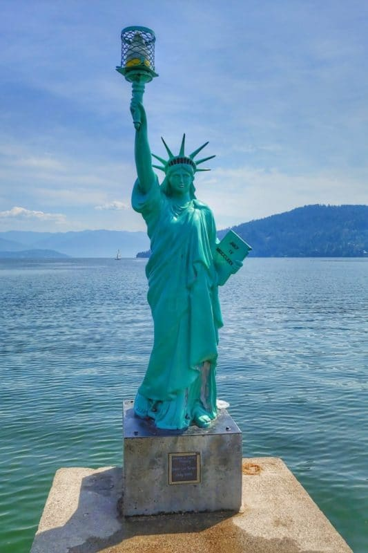 Sandpoint's City Park in North Idaho hosts a sandy beach, which is quite popular, and its own Statue of Liberty!
