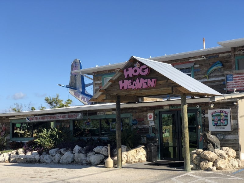 One of the best restaurants in the Florida Keys is Hog Heaven, known for a great happy hour and fun vibe.