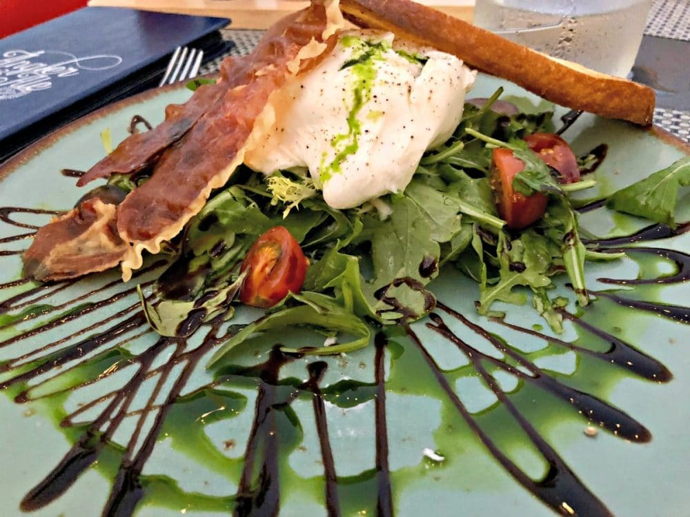angler & ale burrata salad with proscuitto