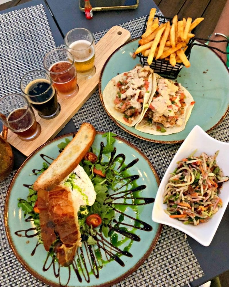 fish tacos and burrata from angler & ale