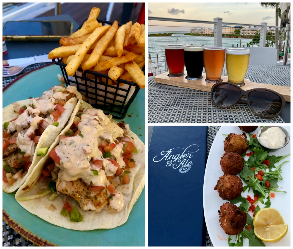 tacos conch fritters and beer from angler and ale