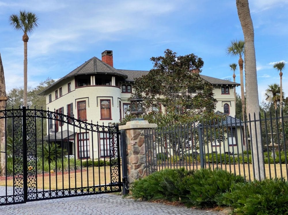 stetson mansion and wrought iron fence