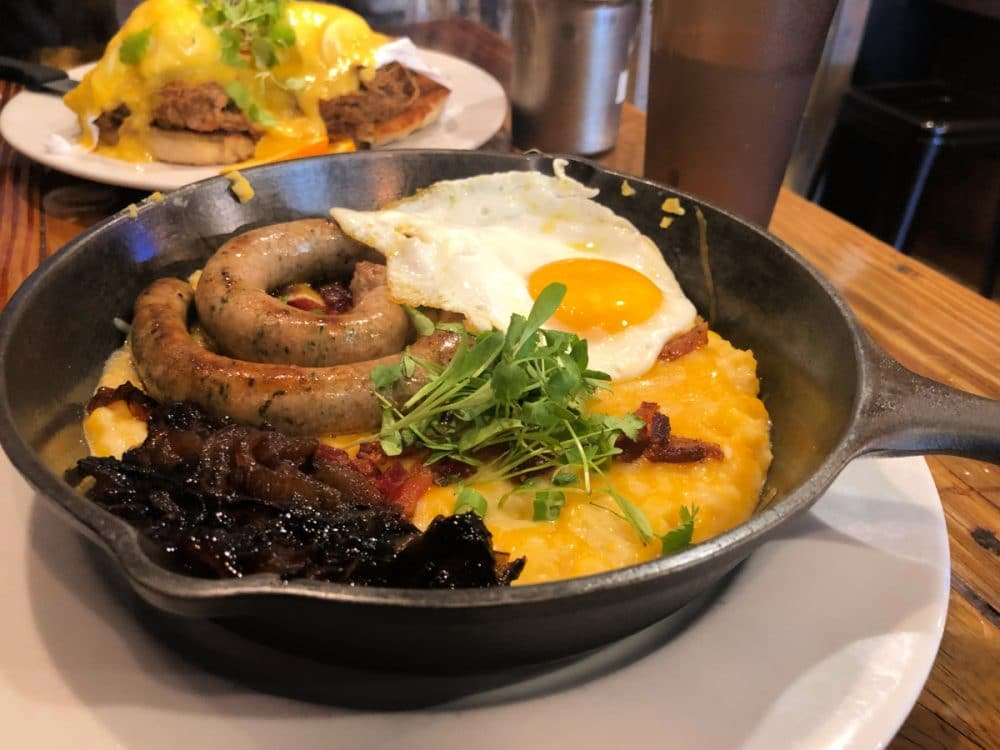 backwater breakfast skillet with eggs and sausage