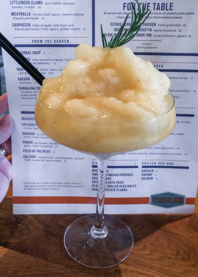 Terralina Crafted Italian's Frozen Bellini makes our best eats at Disney Springs list.