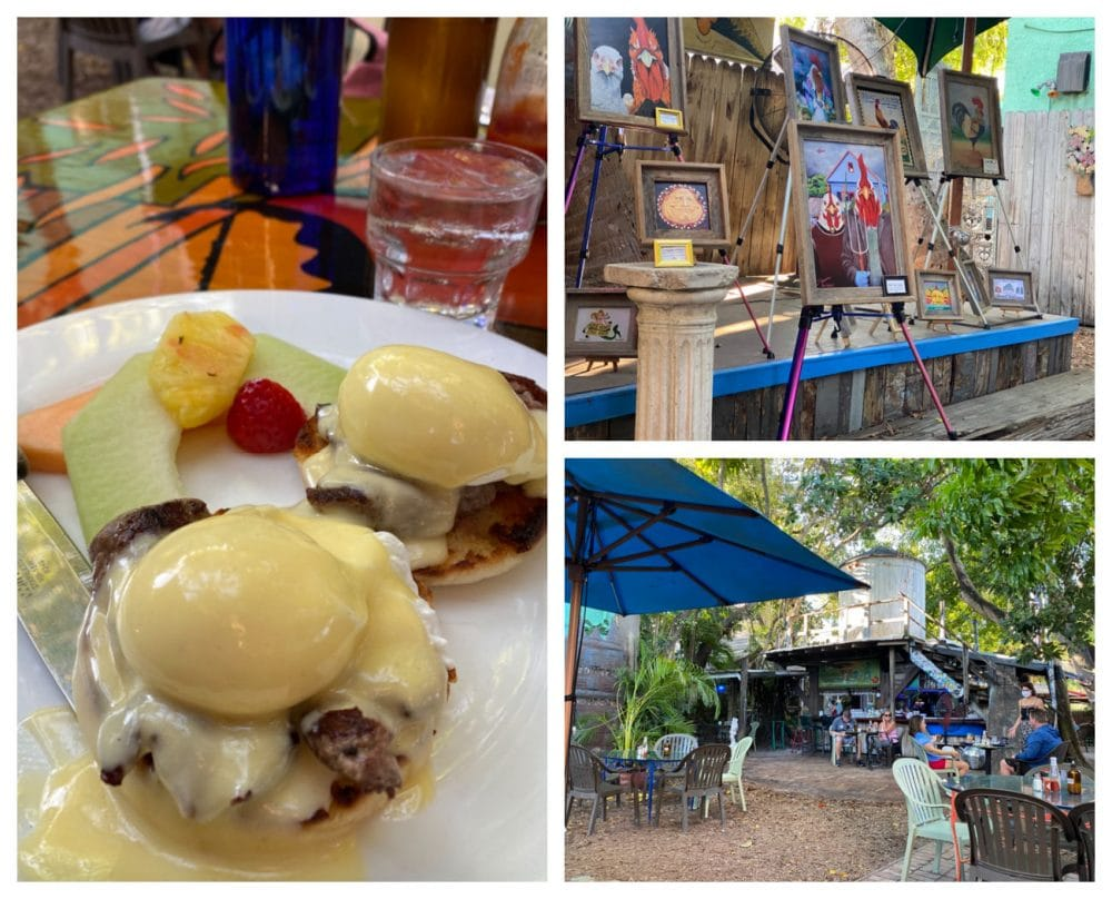 blue heaven eggs Benedict and courtyard