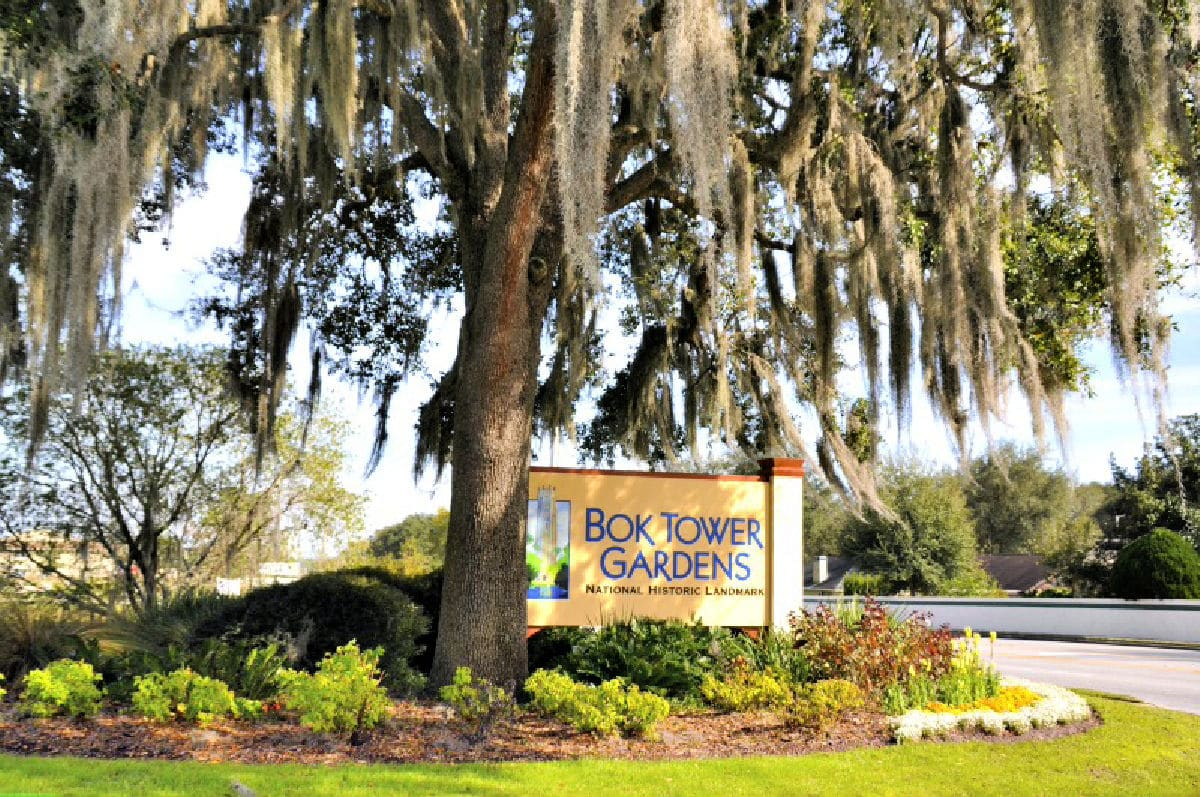 entrance to bok tower sign