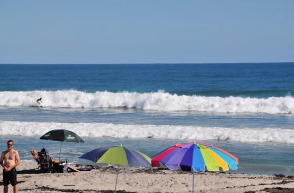 indiatlantic beach with colorful umbrellas