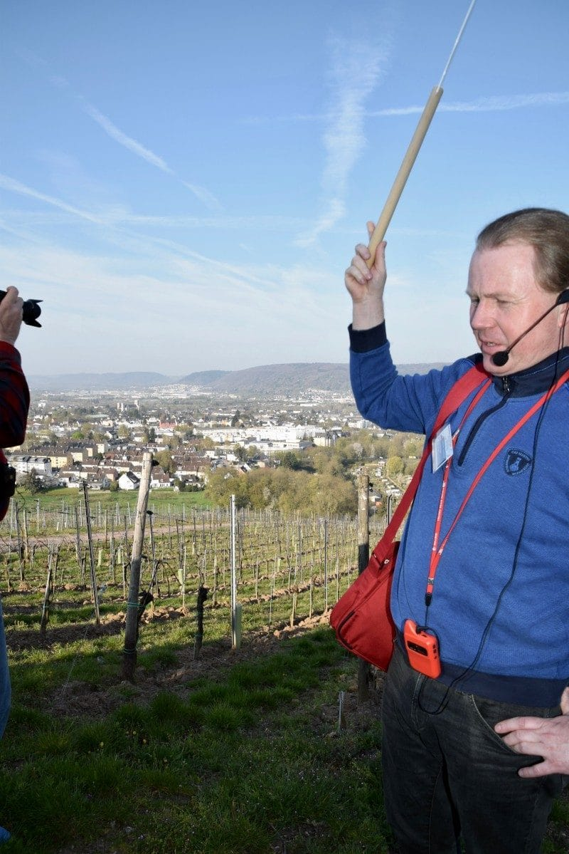 Tour guide on the Viking River Cruise with lollipop and Quietvox.