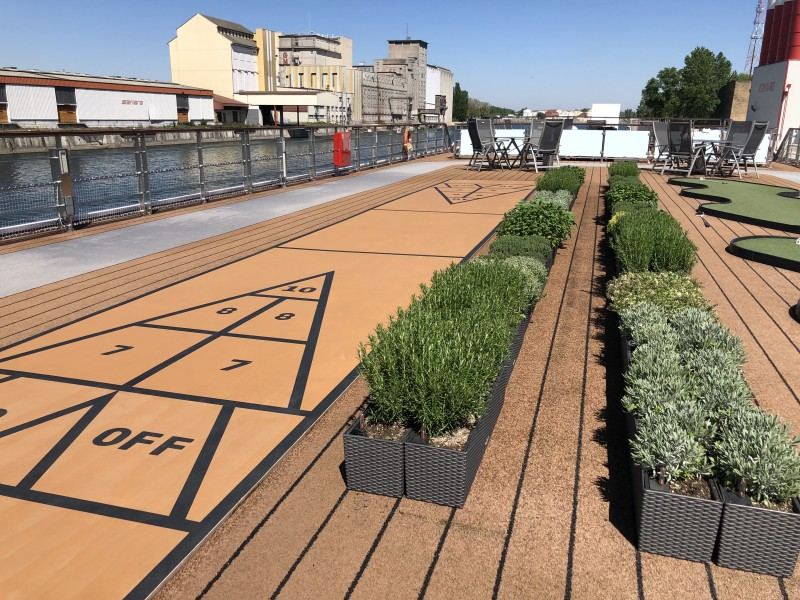 The Sun Deck on Viking River cruises is devoted to an herb garden, putting green, shuffleboard, and a walking track.
