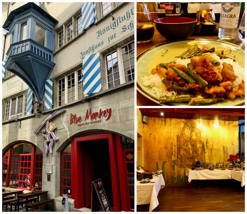 Lunch at the Blue Monkey Restaurant in Zurich was delicious and reasonably priced.