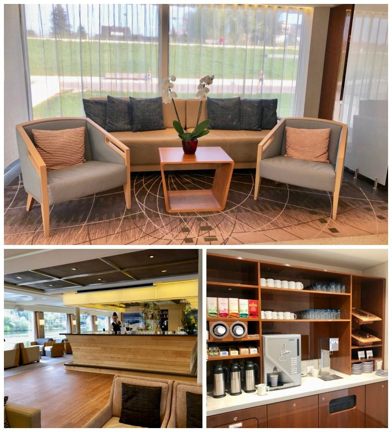 Pictured here is the 24 hour coffee and tea area with fresh pastries and cookies on the Viking River Cruise.