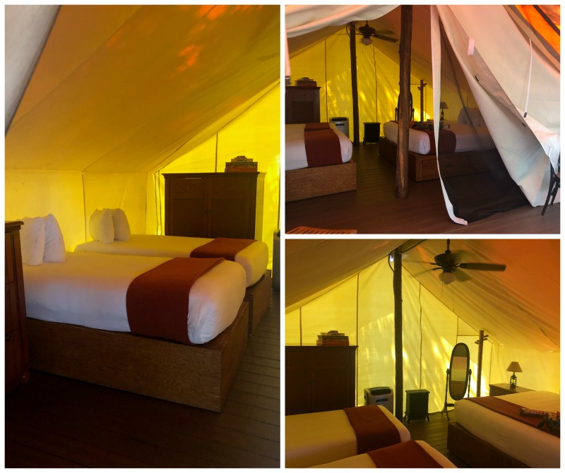 glamping tent westgate dude ranch beds