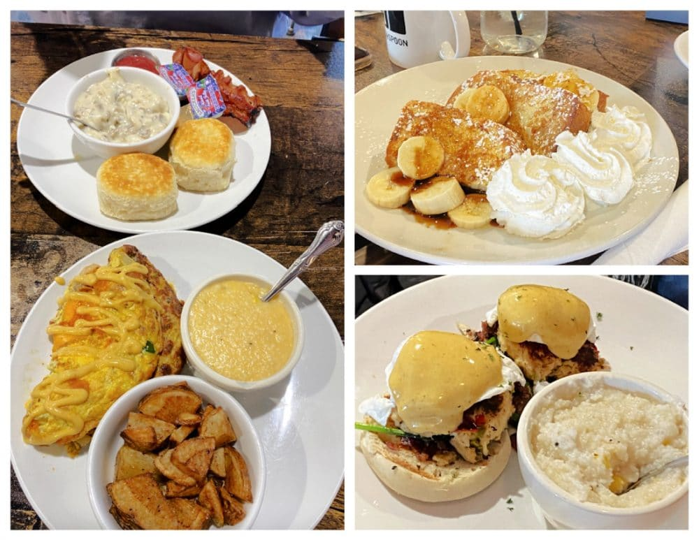 brick & spoon breakfast dishes French toast omelet eggs Benedict