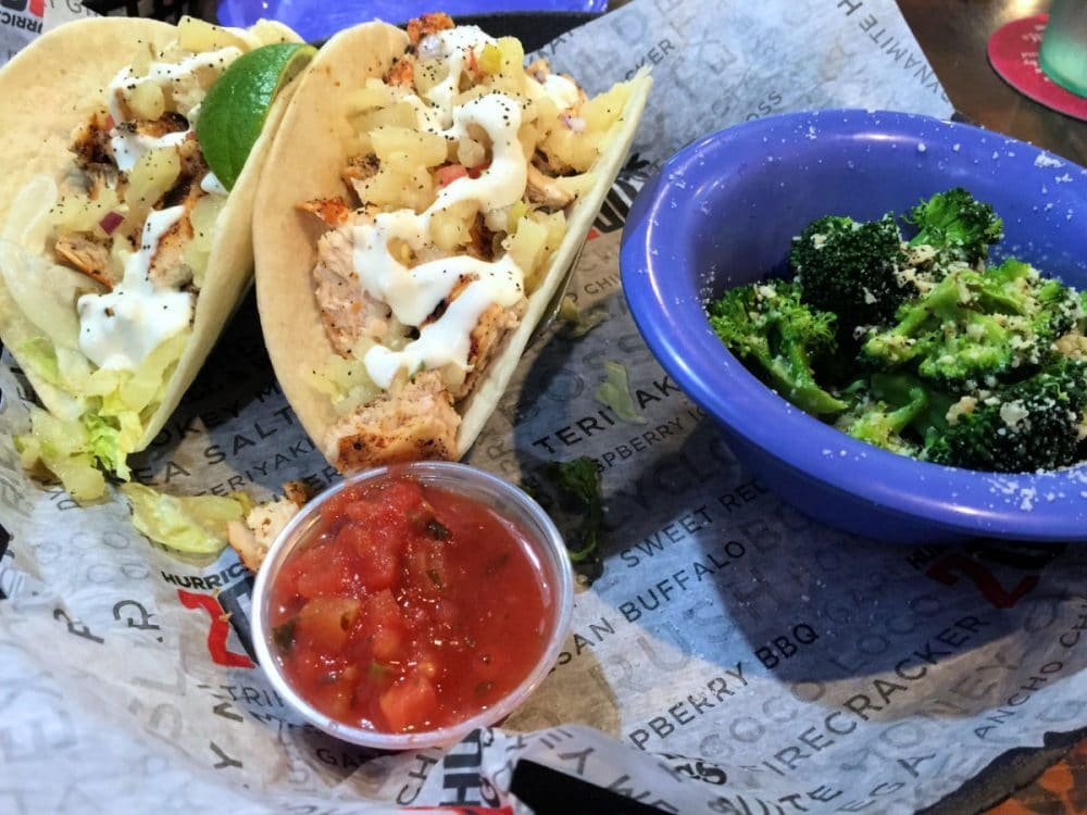 chicken tacos and broccoli from hurricane wings