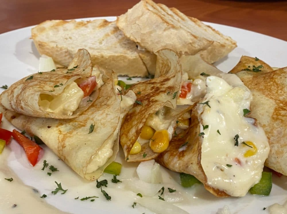 corn shrimp crepes with cheese