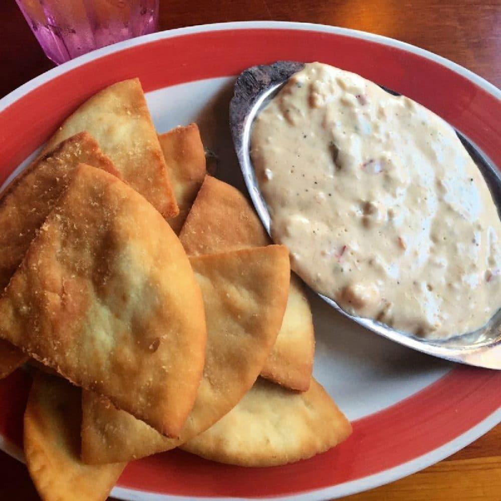 crab dip and fried pita chips